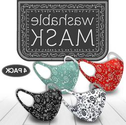 4 Pack Mix! Face Mask Paisley Reusable Washable Protection C