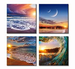 Sweety Decor 4 Panel Nature Landscape Seaside And Beach Pict
