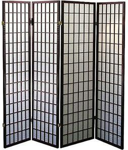 Legacy Decor 4-Panel Shoji Screen Room Divider, Espresso Fin