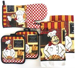 5 Pieces Italian Chef Kitchen Decor Linen Set
