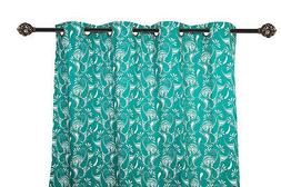 55 x 84 in. Grommet Curtain Paisley Teal with White