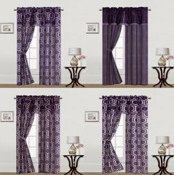 5PC SET PRINTED WINDOW CURTAINS WITH ATTACHED VALANCE AND TI