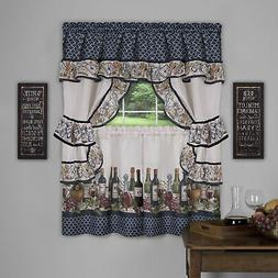 5C Window Kitchen Curtain Cottage Set, Wine and Grapes, Tier