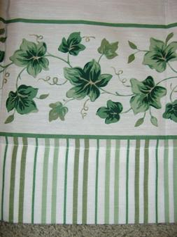 6 Piece IVY on White Rod Pocket Curtain Set, Panels and Ti