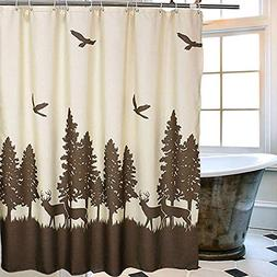 Uphome Deer in The Forest Fabric Shower Curtain - Hunting Th