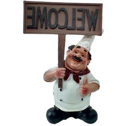 "8"" Fat Chef Holding Welcome Sign Figurine for Gift Kitchen D"