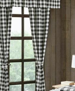 "84"" Buffalo Plaid Black White Check 5 pc Curtain Valance Set"