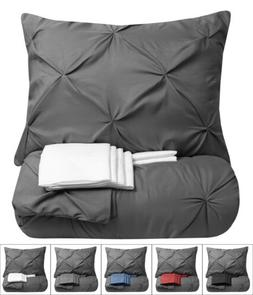 9 Piece Pinch Pleat Pintuck Gray Comforter Bed-in-a-Bag Set