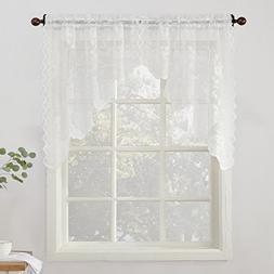 """No. 918 Alison Floral Lace Sheer Curtain Swag Pair, 58"""" x 38"""