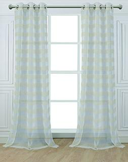 Dainty Home 96CABNA Cabana Elegant Stripe Grommet Window Pan