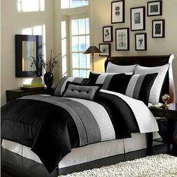 9pc Black White Gray Pintuck Pleated Stripe REMOVABLE COVER