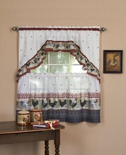 """Achim Home Furnishings Rooster Tier and Swag Set, 57"""" x 36"""","""