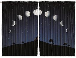 Classroom Decor Curtains by Ambesonne, Phases of Moon and St