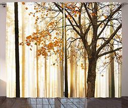 Ambesonne Curtains for Living Room by, Fall Trees Woodsy Cou