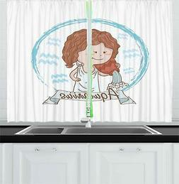 Astrology Kitchen Curtains 2 Panel Set Home Decor Window Dra