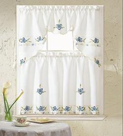 B&H Home Aster Floral Embroidered 3-Piece Kitchen Curtain Wi