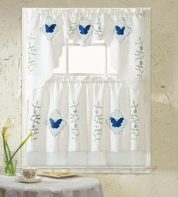 BH Home Blue Butterfly Embroidered 3-Piece Kitchen Curtain W