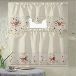 BH Home Floral Embroidered 3-Piece Kitchen Window Curtain Bl