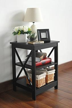 Black Finish Wooden X-Design Chair Side End Table with 3-tie