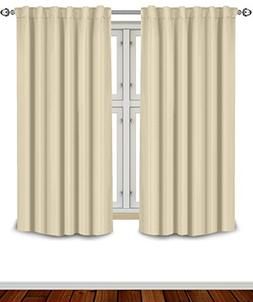 Blackout Room Darkening Curtains Window Panel Drapes - Beige