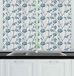 "Blue Floral Kitchen Curtains 2 Panel Set Window Drapes 55"" X"