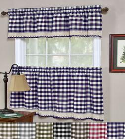 "Buffalo Check Gingham Kitchen Window Curtains 24"" Tier & Val"