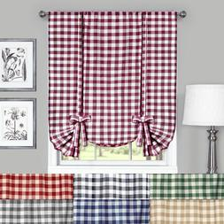 Buffalo Check Plaid Gingham Tie Up Window Curtain Shades - A