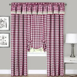 Burgundy Checkered Plaid Gingham Kitchen Window Curtain Drap