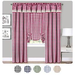 Checked Window Curtain Drape Plaid Gingham Checker Kitchen,