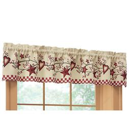 Collections Etc Country Heart Checkered Rod Pocket Window Va