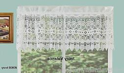 Creative Linens Knitted Lace Kitchen Curtain Valance Ivory 1