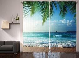Curtains for Living Room Bedroom by Ambesonne, Nautical Mari