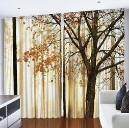 Curtains for Living Room by Ambesonne, Fall Trees Woodsy Cou