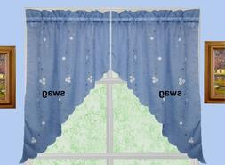 """Daisy Embroidery Kitchen Curtain 38"""" L SWAGS BLUE by Creativ"""