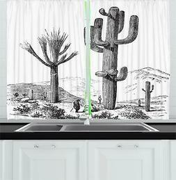 Desert Cactus Kitchen Curtains 2 Panel Set Window Drapes 55""