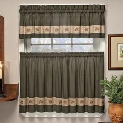 Pair of Plaid Tier Curtains for Kitchen, Bathroom, Bedroom M