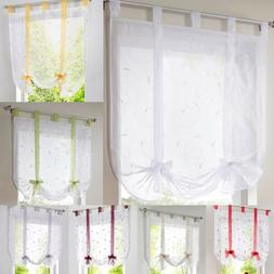 Embroidery Sheer Window Drape Roman Curtains Tie Up Shade fo