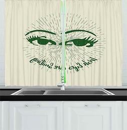 "Funny Kitchen Curtains 2 Panel Set Decor Window Drapes 55"" X"