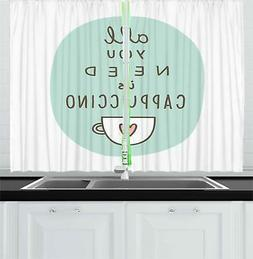 "Funny Words Kitchen Curtains 2 Panel Set Window Drapes 55"" X"