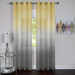 GoodGram 2 Pack Semi Sheer Ombre Chic Grommet Curtain Panels