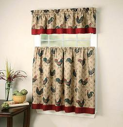 GoodGram Rooster Pullet Complete Kitchen Curtain Tier & Vala