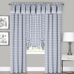 Gray Checkered Plaid Gingham Kitchen Window Curtain Drapes P