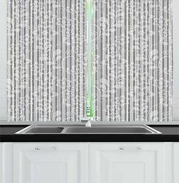Grey and White Kitchen Curtains 2 Panel Set Window Drapes 55