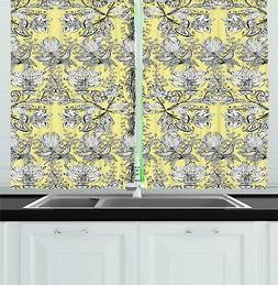 Grey and Yellow Kitchen Curtains 2 Panel Set Window Drapes 5
