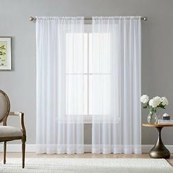 """HLC.ME White 54"""" inch x 84"""" inch Sheer Curtains Window Voile"""