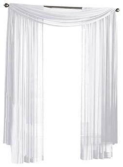HLC.ME White Sheer Window Scarf - Valance - Fully Stitched &