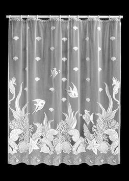 Heritage Lace Seascape 72-Inch by 72-Inch Shower Curtain, Wh