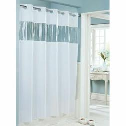 Hookless HBH08VIS01 Vision Shower Curtain White With Clear T