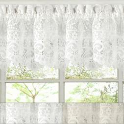 "Hopewell Heavy Floral Lace Kitchen Window Curtain 12"" x 58"""
