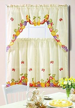 Kashi Home 3 Piece Kitchen Curtain Swag Set with Printed Des